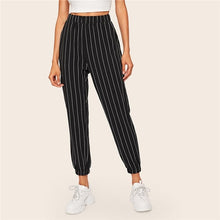 Load image into Gallery viewer, SHEIN Slant Pocket Vertical Striped Pants Women Spring Casual Elastic Waist Trousers Black Regular Mid Waist Streetwear Pants