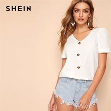 Load image into Gallery viewer, SHEIN Button Up Cuffed Puff Sleeve Blouse White Solid Glamorous V Neck Short Sleeve Blouse Women 2019 Chic Summer Blouses