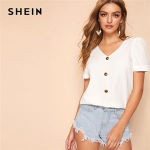 SHEIN Button Up Cuffed Puff Sleeve Blouse White Solid Glamorous V Neck Short Sleeve Blouse Women 2019 Chic Summer Blouses