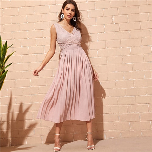Sheinside Pink Elegant Criss-cross Wrap Lace Bodice Dress Women 2019 Spring High Waist Pleated Dresses Ladies Solid A Line Dress