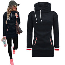 Load image into Gallery viewer, Winter Warm Turtleneck Collar Hoodies Women Long Sleeve Drawstring Sweatshirt With Pockets