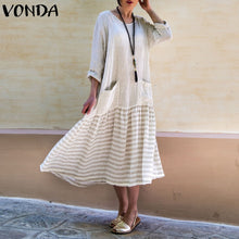 Load image into Gallery viewer, VONDA Dress For Women 2019 Vintage Bohemian Long Dress Casual Long Sleeve Stripe Patchwork Loose Party Vestidos Female Oversized