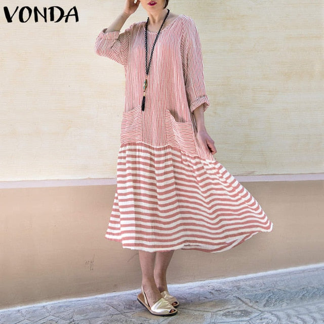 VONDA Dress For Women 2019 Vintage Bohemian Long Dress Casual Long Sleeve Stripe Patchwork Loose Party Vestidos Female Oversized