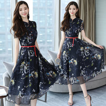 Load image into Gallery viewer, Summer Vintage Chiffon Floral Dress Plus size Maxi sundress Boho 2019 Elegant Women club Midi dresses Party Long Dress Vestidos