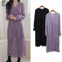 Load image into Gallery viewer, 2019 Spring Cute Long Max Dresses Women Korean Style Long Sleeve Temperament Lady V Neck Purple Black Vintage Shirt Dress 6512