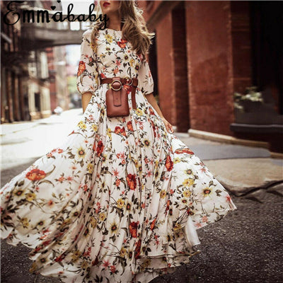 New Women Boho Floral Maxi Dress Summer Fresh Long Sleeve Draped Gwons Dresses Lady Chic Holiday Party Dress Shein Vestidos 2019
