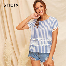 Load image into Gallery viewer, SHEIN Tassel Detail Striped Top Blue Basic Short Sleeve Blouse 2019 Fashion Chic Summer Fringe Round Neck Women Blouses