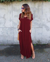Load image into Gallery viewer, Loose Baggy Tunic Dress Women Pockets Solid Big Plus Size Bohemian Beach Holiday Long Maxi Dresses Women Vestidos Verano 2019