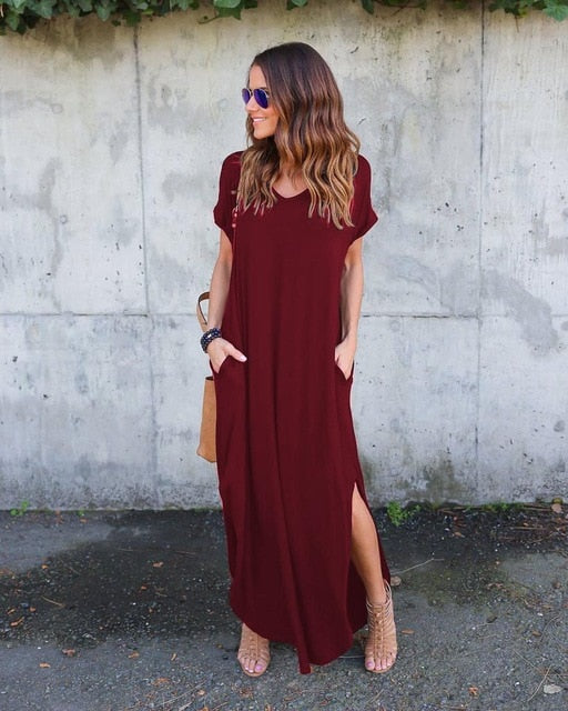 Loose Baggy Tunic Dress Women Pockets Solid Big Plus Size Bohemian Beach Holiday Long Maxi Dresses Women Vestidos Verano 2019