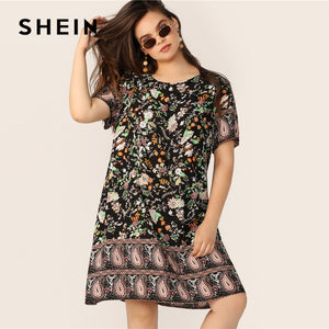SHEIN Plus Size Multicolor Floral And Paisley Print Tunic Dress 2019 Women Summer Boho Shift Short Sleeve Round Neck Dresses