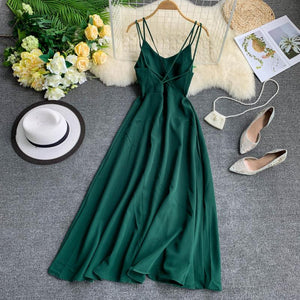 Fitaylor Sexy Spaghetti Strap Long Dress Women Elegant Backless Dresses Vintage Beach Party Maxi Dress Robe Vestidos