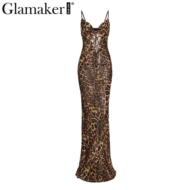 Glamaker Leopard Print Sexy Maxi Bodycon Dress Women Summer Chiffon Beach Sundress Elegant Vintage Female Club Long Party Dress