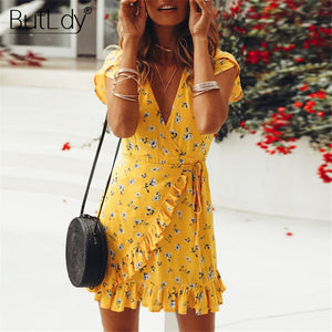 Ruffle Floral Print Wrap Dress Women Short Sleeve Summer Beach Dress Casual Bohemian Mini Sundress Sexy V Neck Dresses 2019