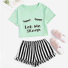 "Load image into Gallery viewer, SHEIN Black Graphic Tee Frilled Striped Shorts ""Let Me Sleep"" Round Neck Short Sleeve Sleepwear Set"
