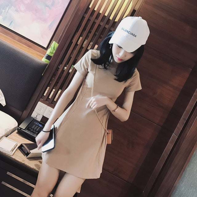 Mishow 2019 Spring Summer New Women short Sleeve ALine Dress Solid cute kawaii Ladies Evening Party Slim Vestidos MX17B1217