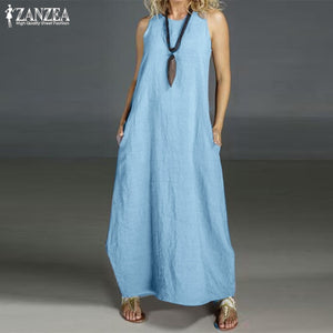Plus Size Summer Dress Women's Linen Sundress 2019 ZANZEA Casual Maxi Vestidos Vintage O Neck Sleeveless Party Dress Robe Femme