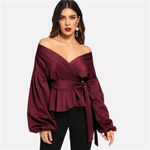 Load image into Gallery viewer, SHEIN White Office Lady Elegant Lantern Sleeve Surplice Peplum Off the Shoulder Solid Blouse Autumn Sexy Women Tops And Blouses