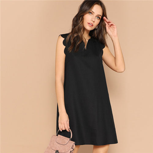 SHEIN Lady Solid V-Neck Scallop Trim Trapeze Mini Dress Women Clothes 2019 Casual Sleeveless Loose Tank Summer Dress