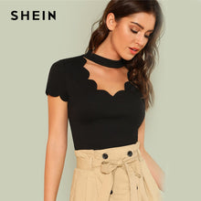 Load image into Gallery viewer, SHEIN Elegant Mock Neck Scallop Trim Cut Out V Collar Short Sleeve Solid Tee Summer Women Weekend Casual T-shirt Top