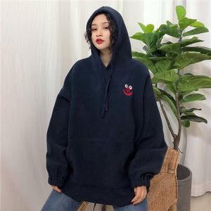 Hoodies Women Pockets Embroidered Cartoon Trendy Cute Female Loose BFplus Velvet Womens Long Sleeve All-match Lovely Streetwear