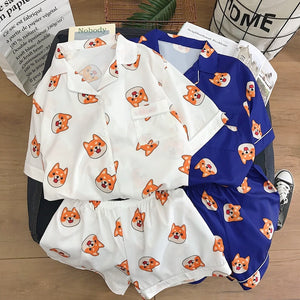 Fox Print Pajama Set Cartoon Print Pajamas Fun Sleeepwear