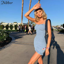 Load image into Gallery viewer, Nibber summer Elegant club bodycon mini dresses womens Beach leisure vacation party night lace up stretch Slim Soft dress mujer