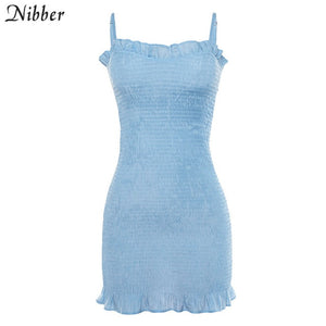 Nibber summer Elegant club bodycon mini dresses womens Beach leisure vacation party night lace up stretch Slim Soft dress mujer