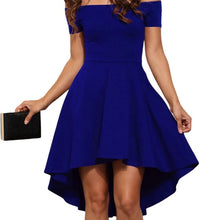 Load image into Gallery viewer, Women Burgundy Blue princess dresses 2018 New summer Off the Shoulder  Short Sleeves Knee-length A-Line dress Vestidos