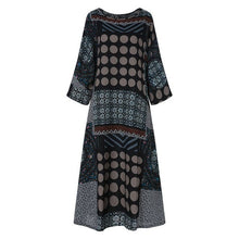 Load image into Gallery viewer, ZANZEA Summer Cotton Linen Sundress Women Vintage Dot Printed Long Dress Female O Neck Long Sleeve Loose Vestido Kaftan Dresses