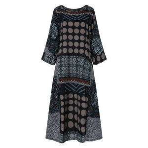 ZANZEA Summer Cotton Linen Sundress Women Vintage Dot Printed Long Dress Female O Neck Long Sleeve Loose Vestido Kaftan Dresses