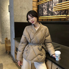 Load image into Gallery viewer, Winter Solid Sashes Coat Thick High Quality Students Outwear Sweet Women Plus Size 2 Colors