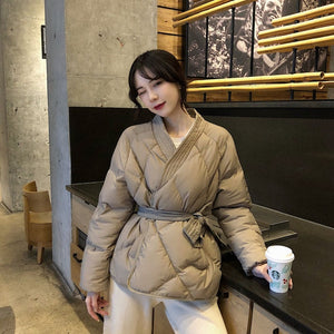 Winter Solid Sashes Coat Thick High Quality Students Outwear Sweet Women Plus Size 2 Colors