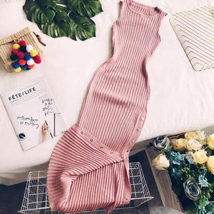 2018 new fashion women's adult clothing autumn and winter knitting round neck sleeveless slim sexy mid-length dress