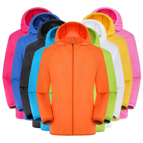 Women's Casual Jacket Plus Size Candy Color Windproof Ultra-Light Rainproof Windbreaker Hooded Coat