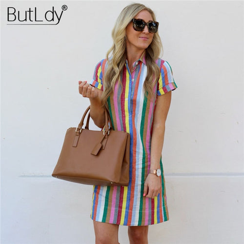 Rainbow Striped Shirt Dress Women Summer 2019 Turn-Down Collar Button Short Sleeve Beach Dress Casual A Line Dresses Sundress