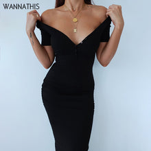 Load image into Gallery viewer, WannaThis Ankle-Length Knitted Dress Sexy Short Sleeve Summer Casual Stretchy Elastic Elegant V-Neck Women Solid Dresses Bodycon