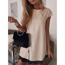 Load image into Gallery viewer, Women Dress Summer Short Sleeve O-Neck Casual Loose Dress With Belt Female Street Dress Lace Patchwork Femme Vestidos SJ2978C