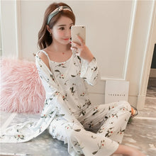 Load image into Gallery viewer, JULY'S SONG Pajamas Set Sling Cotton Pajamas 3 Piece Sleepwear Long Sleeves Breathable with Robe
