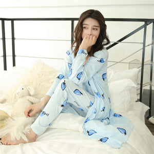 JULY'S SONG Pajamas Set Sling Cotton Pajamas 3 Piece Sleepwear Long Sleeves Breathable with Robe