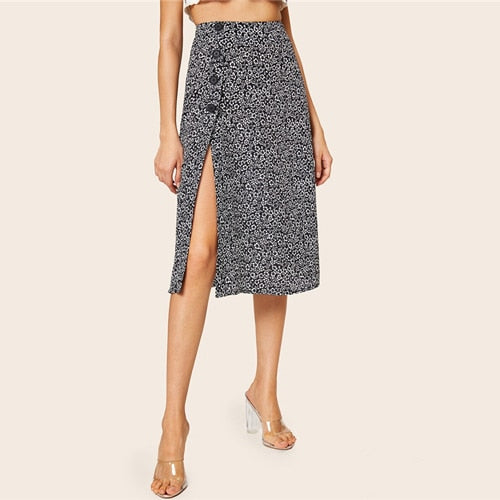 SHEIN Floral Button Side Split Thigh High Waist Skirt Ladies Spring Summer A Line Midi Skirt Boho Black and White Women Skirt