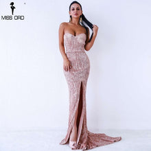 Load image into Gallery viewer, Missord 2019 Sexy BRA Off Shoulder Sequin High Split Female Reflective Dress Maxi Elegant Party Dress Vestdios FT9188