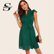 Load image into Gallery viewer, Sheinside Green Button Front Layered Ruffle Pleated Dress With Belt 2019 V Neck Vintage Ladies Dresses Women Short Summer Dress