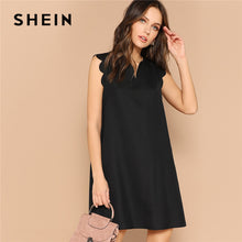 Load image into Gallery viewer, SHEIN Lady Solid V-Neck Scallop Trim Trapeze Mini Dress Women Clothes 2019 Casual Sleeveless Loose Tank Summer Dress