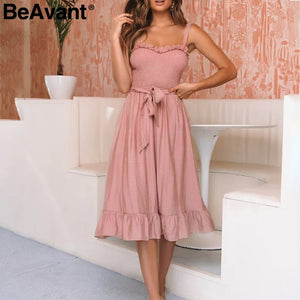 Beavant Elegant Ruffle Pleated Women Cotton Dress Ruched High Waist Summer Dress Pink Spaghetti Strap Female Midi Dress Vestidos