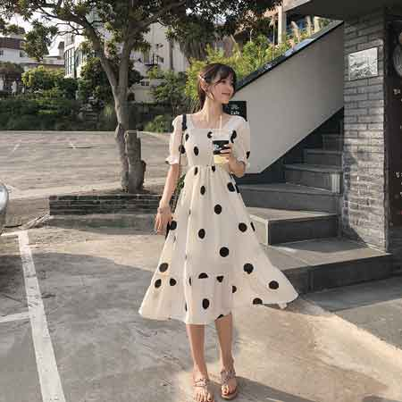 MISHOW Women Summer Beach Chiffon Dress Dot 2019 New Korean Boho Dresses For Girls Slim High Waist Female Vestidos MX19B1384