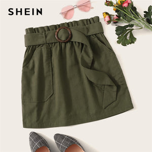 SHEIN Paperbag Waist Buckle Belted Pocket Front Skirt Womens Summer 2019 Casual Army Green Straight High Waist Mini Skirt