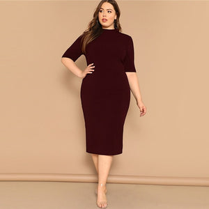 SHEIN Classy Black Plus Size Mock-neck Solid Pencil Slim Dress Women Spring Office Lady Bodycon Basics Plus Size Long Dresses
