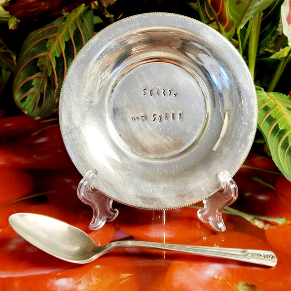 sorry not sorry stamped vintage silver plated dish sd103