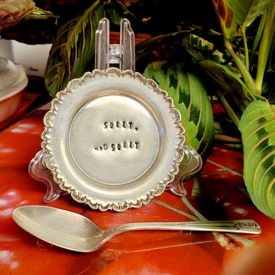 sorry not sorry stamped vintage silver plated dish sd105