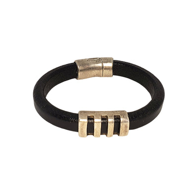 thicker leather cuff cut out silver bar